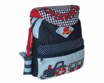 Kids backpack tractor kindergarten bag, shoulder bag, backpack with zip and large bags, tractor and name