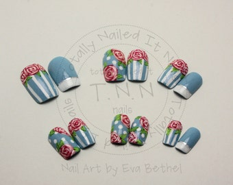 Shabby Chic Vintage Hand Painted Rose False Nails - Press-On - Acrylic - Artificial Nails - Fake Nails