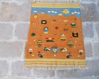 "Turkish handwoven child carpet relief  Bergama hand wowen wool on wool kilim rug 39  "" by 32"" inches    (100cm by82cm)"