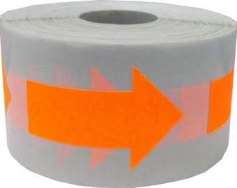 "Fluorescent Neon Orange Arrow Stickers - Die Cut 2"" Inch in Length 