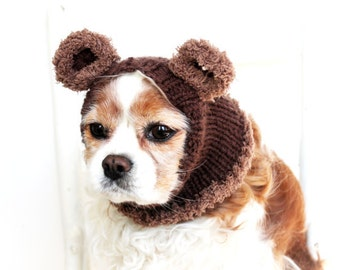Bear Dog Snood / Hand Knit / Long Ear Covering / Cold Weather Snood/3 Sizes