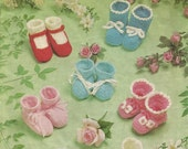 PDF Knitting Crochet Pattern, 4Ply & 8ply, Booties, Bootees, Mary Janes