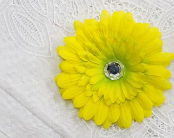 Yellow Silk Flower Hair Clip with Jewel center