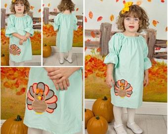 Aqua Cord Turkey Peasant Dress,Thanksgiving Dress