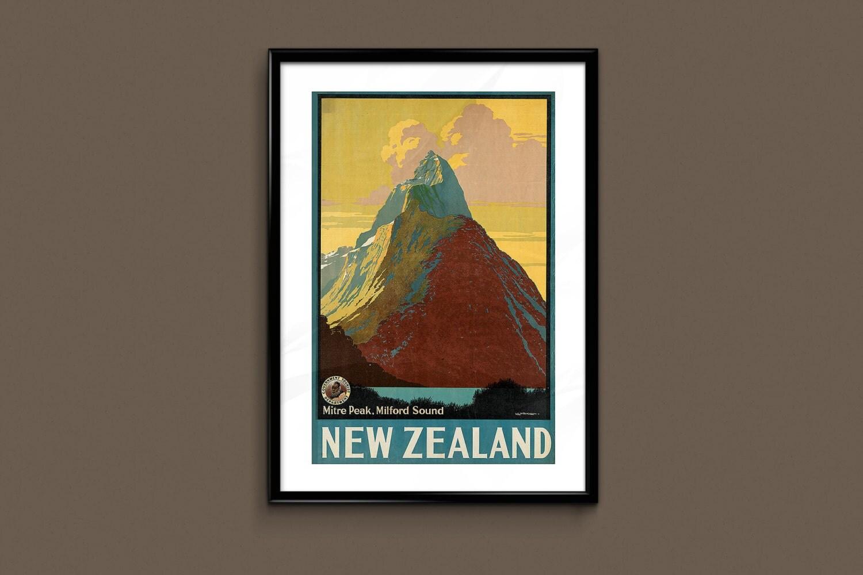 New zealand travel poster vintage art deco poster new zealand for Ikea ship to new zealand