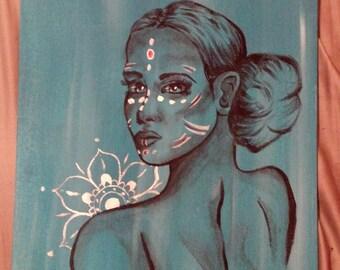 Ligeia, Ancient Beauty, Tribal, Original Painting, Acrylic