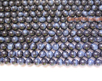 """15.5"""" 8mm/10mm Blue tiger eye AAA quality natural round beads, top quality natural blue tiger eye, dark blue beads, jewelry supply"""