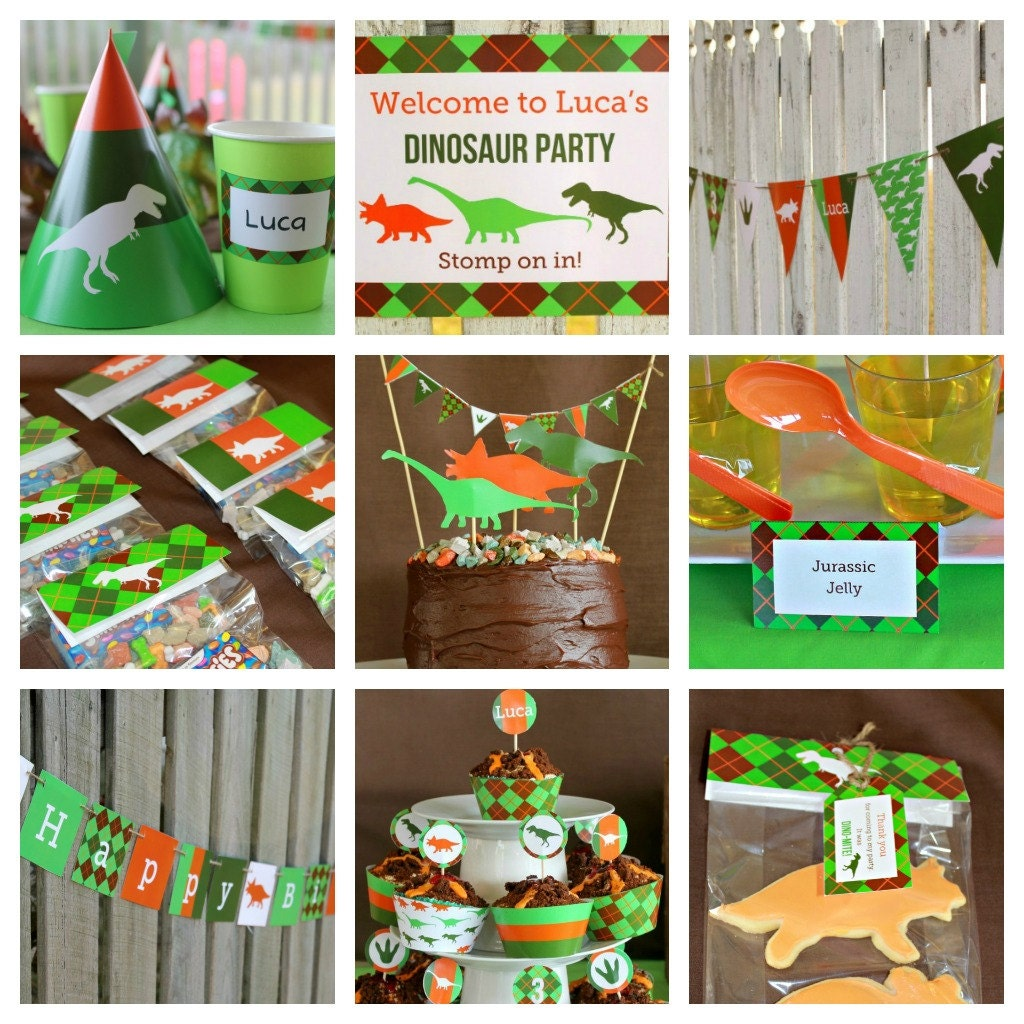 DINOSAUR Party Printable DECORATION Kit personalized DIY
