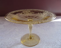 FOSTORIA Topaz Yellow Elegant Glass Etched in the JUNE Pattern 1930's Round COMPOTE Tazza Dish..Mint Vintage Condition