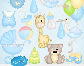 Baby Boy Elements - Clipart - Embellishments - Small Commercial Use - Instant Download