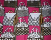 "African Wax Print Fabric Pink Purses 100% Cotton/Sold per yard/ 45"" wide Ankara/African Fashion/African Decor/Head Wraps"