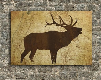 ELK Silhouette on Map, Antler Decoration, Outdoors, Hunting Art, Framed Canvas (20 x 30) or (27 x 40)
