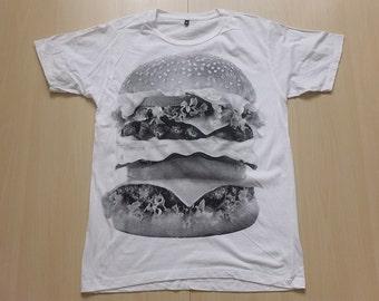 Hamburger Print Hip Hop Pop Rock  T-Shirt M
