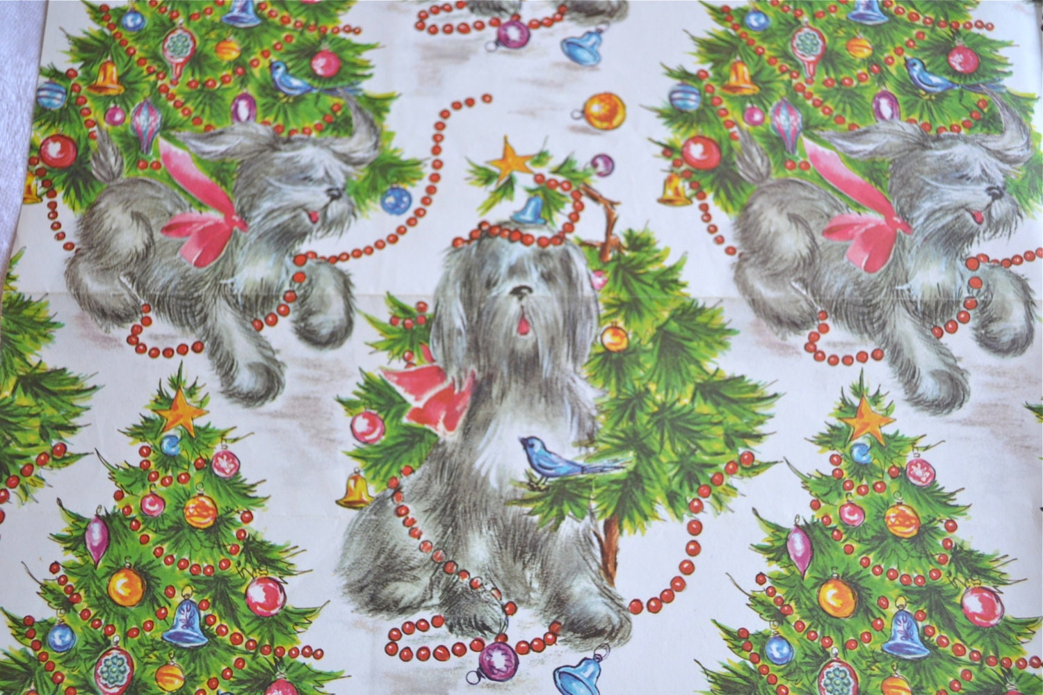 Vintage Wrapping Paper Sheep Dog Christmas Unused Sheet