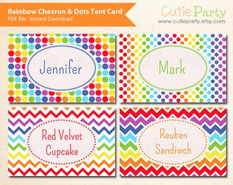 Rainbow Food Label, Rainbow Tent Card, Editable Tent Card, Rainbow Chevron & Dots Pattern, buffet card, food tags, gift tags, place cards