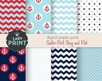 Little Cute Sailor Nautical Digital Papers. For Personal and Small Commercial Use.