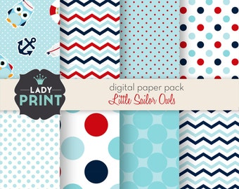 Little Sailor Owls Nautical Digital Papers. For Personal and Small Commercial Use.