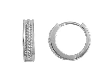 SH17 Sterling Silver Small 12mm Rope Designed Huggie Hoop Earrings