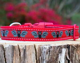 Australian Made Bats Dog Collar, Red / Bat Dog Collar / Australian Made