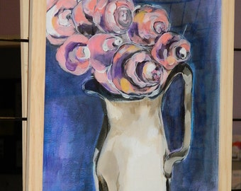 "acrylic painting on paper. acrylic painting on paper ""BOUQUET"""