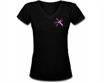 Hairstylist barber tools professions black v neck customized women t shirt -fit the body