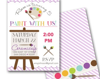 Painting Art Party Invitation - Art Party Invite customized and personalized - digital file - MATCHING PARTY PACK available!