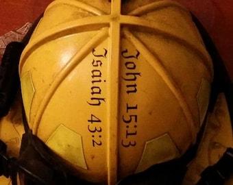 Isaiah 43:2 Fire Helmet Vinyl