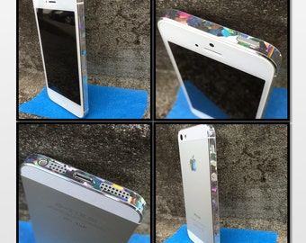 Silver Geometric Hologram Edge Skin for Apple iPhone 5S 5  : Decal Sticker with Free Shipping!