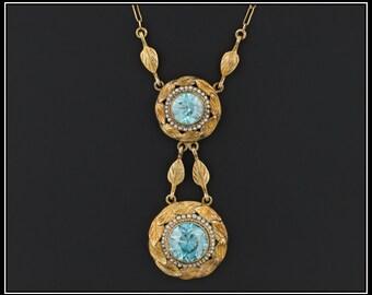 Antique Blue Zircon Necklace | Antique Victorian Necklace | 14k Blue Zircon Necklace | 1800s Gold Necklace | December Birthstone Necklace