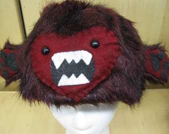 Burgundy Faux Fur with Yeti Face and Hands Hat with Fleece Lining