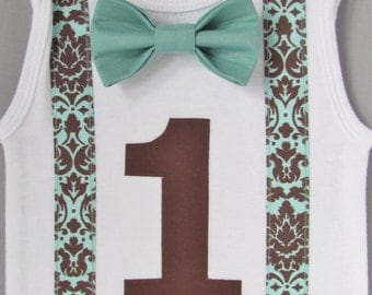 Baby Boy Clothes - Teal and Brown Suspenders with Teal Bow Tie - Brown Birthday Number - Cake Smash - Boys First Birthday Outfit - Boy Baby