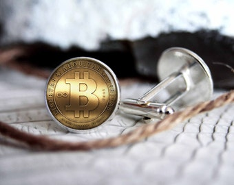 Cufflink bitcoin custom personalized cufflinks, cool gifts for men, wedding silver plated or black cuff link gift for men