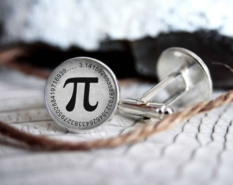 Pi personalized cufflinks, cool gifts for men, custom wedding silver plated or black cuff link