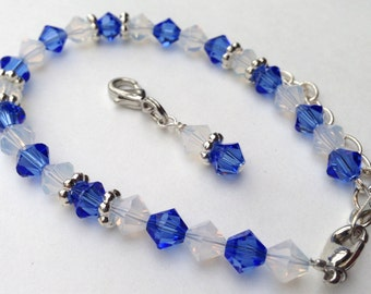 Weight Loss bracelet, weight watchers, blue white, Swarovski crystals, extender for multiple sizes, motivation