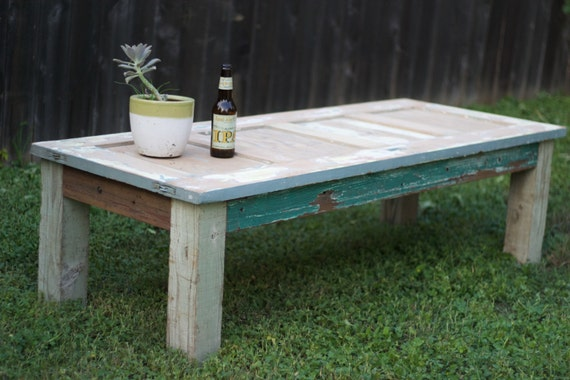 Items Similar To Reclaimed Wood Door Coffee Table Local Pickup Only On Etsy