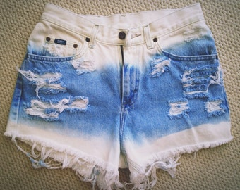 Double Dip Dye Bleached High Waisted Shorts