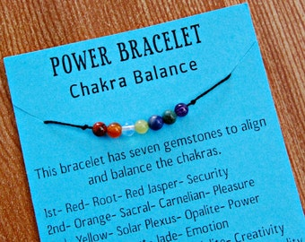 Seven Chakras Balance String Bracelet with Natural Gemstone Healing Crystal Beads