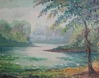 Antique Oil Painting Forest Landscape Lake