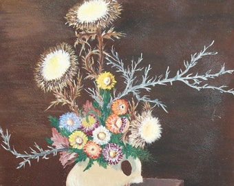 Vintage European oil painting flowers still life signed