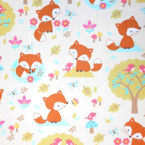 items similar to cute fox woodland forest nursery fabric