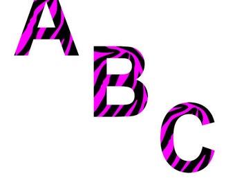 Black & Pink Zebra Alphabet Clipart