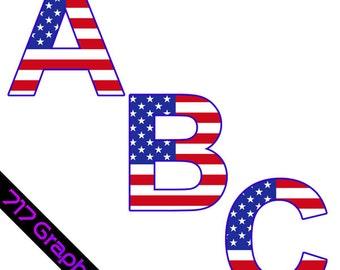American Flag Alphabet Clipart