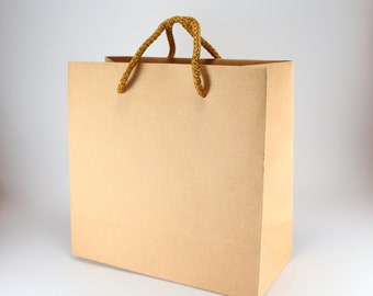 40 Kraft Brown Paper Bags with Handles - SMALL SQUARE Kraft Paper Gift Bags - Party Gifts Rustic Wedding Favor Bags - Party Favor Bags