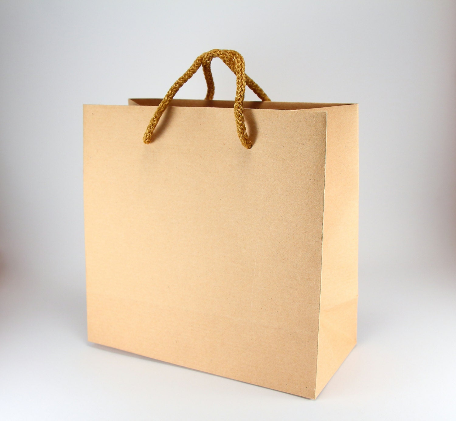 80 Natural Brown Paper Favor Bags with Handles - SMALL SQUARE ...