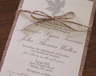 Rustic Wedding Invitation Set Boho Script Twine Forest Fabric