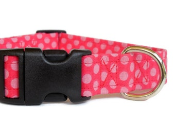 Pink Polka Dots Adjustable Girl Dog Collar (Buckle or Martingale)
