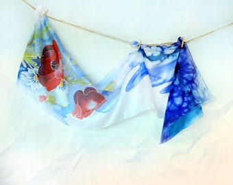 Hand Painted Blue Silk Scarf, Red Poppy and Daisy Flowers Silk Scarf, Long Silk Scarf, Luxury Silk Scarf, Women Silk Accessory, Blue Summer