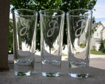 Personalized Etched Shot Glasses with One Initial