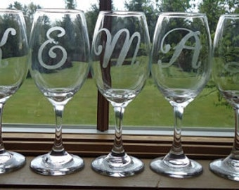 Personalized Etched Wine Glass with One Initial