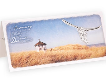 "Greeting card / get well card ""West Beach"" from nature paper 3D"